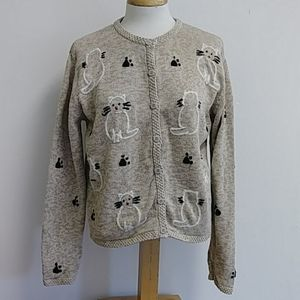 Christopher & Banks Hand  Embroidered Cat Sweater